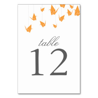 Origami Cranes Table Number Card Table Cards