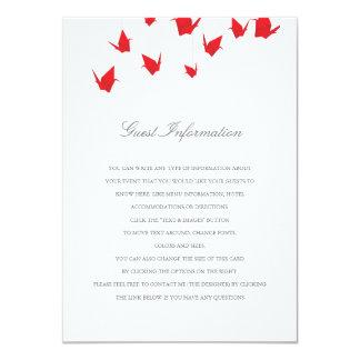 Origami Cranes Wedding Insert Card