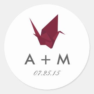 Origami Cranes Wedding Monogram Round Sticker