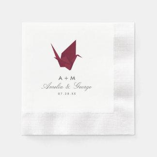 Origami Cranes Wedding Paper Napkin