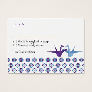 Origami Cranes Wedding (Purple C. Blue) RSVP Card