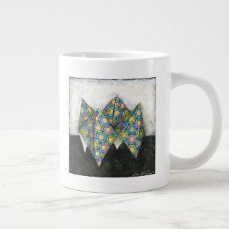 Origami Fortune Teller on Geometric Paper Large Coffee Mug