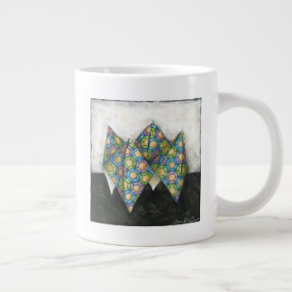 Origami Fortune Teller on Geometric Paper Large Coffee Mug