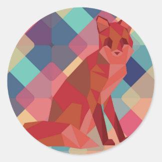 Origami Fox Classic Round Sticker