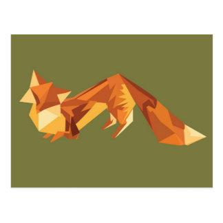 Origami fox postcard