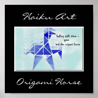 Origami Horse Haiku Art Print