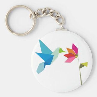 Origami hummingbird and flower keychain