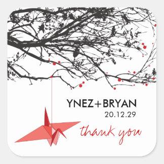 Origami Paper Crane Tree Branch Thank You Wedding Square Sticker