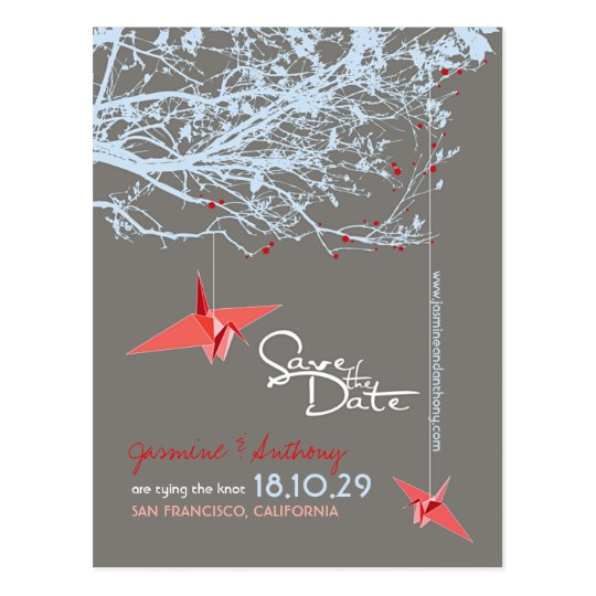 Origami Paper Cranes Tree Zen Photo Save The Date Postcard