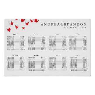 Origami Paper Cranes Wedding Seating Chart