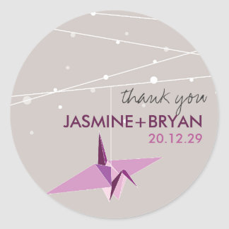 Origami Plum Paper Crane Wedding Lights Thank You Round Sticker