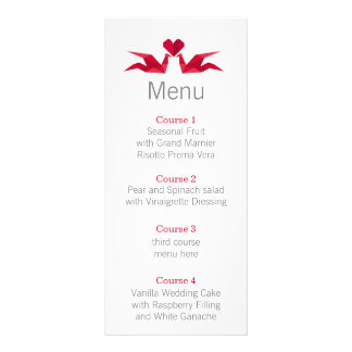 origami red cranes Wedding menu Rack Cards