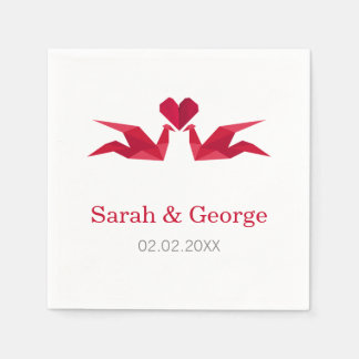 origami red cranes Wedding personalized napkins Paper Napkin