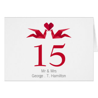origami red cranes Wedding table seating card