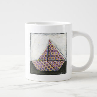 Origami Sailboat on Star Design Paper Giant Coffee Mug