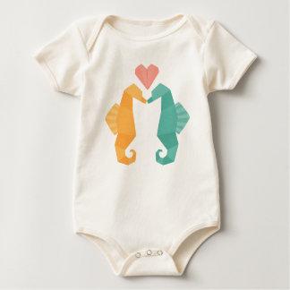Origami Sea Horse Love Baby Bodysuit