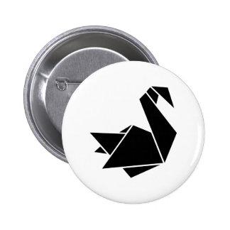 Origami swan 2 inch round button