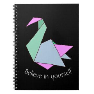 Origami Swan Spiral Notebooks