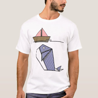 Origami Whale Under Paper Boat T-Shirt