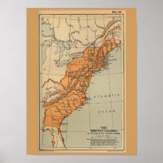 Original 13 American Colonies Map Poster