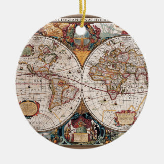 Original 17th Century World-Map latin 1600s Ceramic Ornament