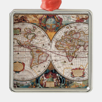Original 17th Century World-Map latin 1600s Metal Ornament