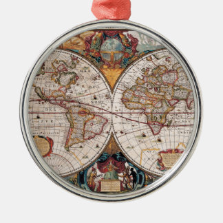 Original 17th Century World-Map latin 1600s Metal Ornament