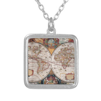 Original 17th Century World-Map latin 1600s Silver Plated Necklace
