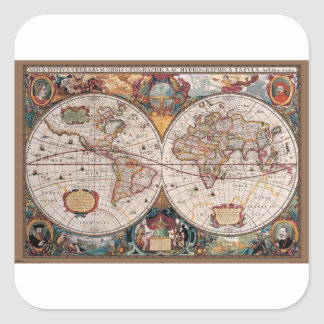 Original 17th Century World-Map latin 1600s Square Sticker