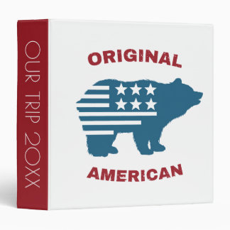 Original American | United States Typography Bear 3 Ring Binders