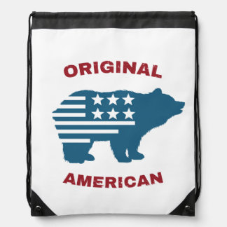 Original American | United States Typography Bear Drawstring Bag