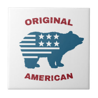 Original American | United States Typography Bear Tile