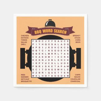 Original and fun BBQ party word search puzzle... Napkin