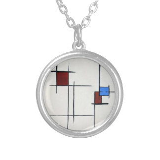 original art abstract geometric blue red white round pendant necklace