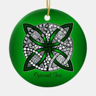 Original Art Celtic Knot Green Christmas Tree Ornaments