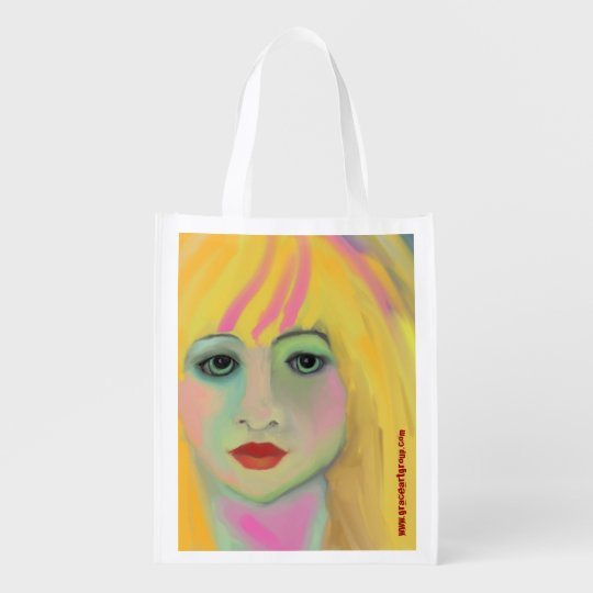 Original Art Faces Reusable Grocery Bag
