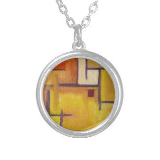 original art necklace yellow abstract modern