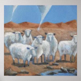 Original art print - Sheep, Tornado