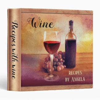 Original Art Wine Themed Recipe Binder