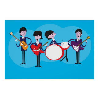 Original Artwork Mod Shag Fab Four Cartoon Poster