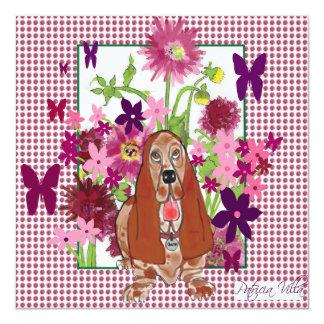original artwork of Basset Hound with flowers Card