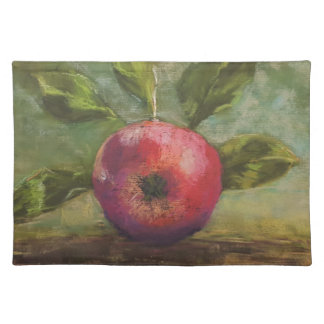 Original artwork painting red apple placemat
