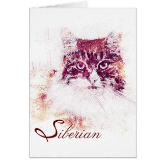 Original Artwork Siberian Cat Note Card