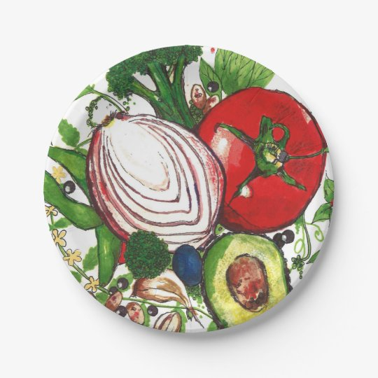 original artwork vegetables and herbs paper plates 7 inch paper plate