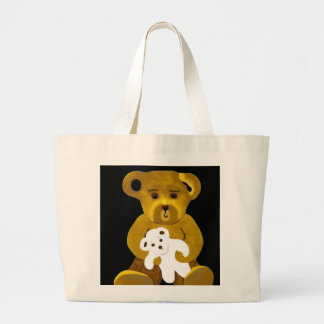 Original Becca Bears by Trese Judd on Gold/White Large Tote Bag