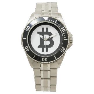 Original Black Bitcoin Symbol Logo Wrist Watch