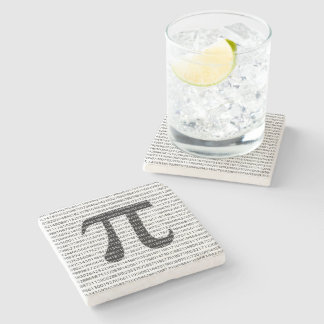Original black number pi day mathematical symbol stone coaster