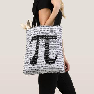 Original black number pi day mathematical symbol tote bag