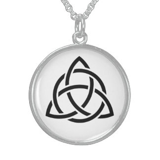 Original Celtic Triquetra Knot black icon Sterling Silver Necklace