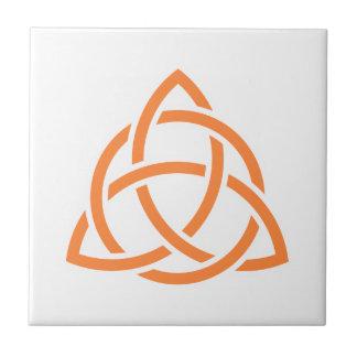 Original Celtic Triquetra Knot orange icon Tile